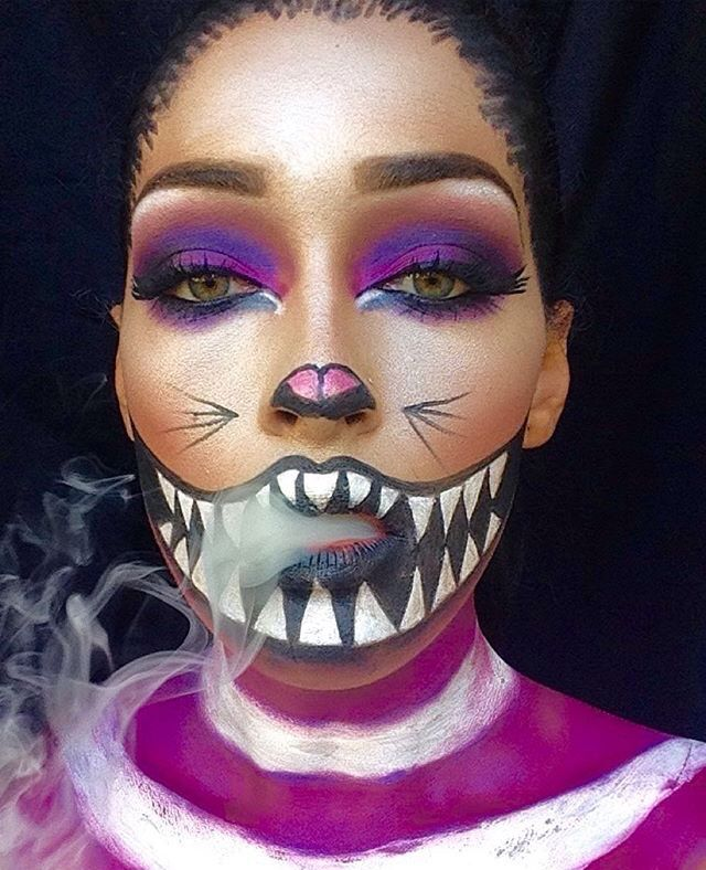 were all mad here cheshire cat cat halloween makeuphalloween - Cat Eyes Makeup For Halloween
