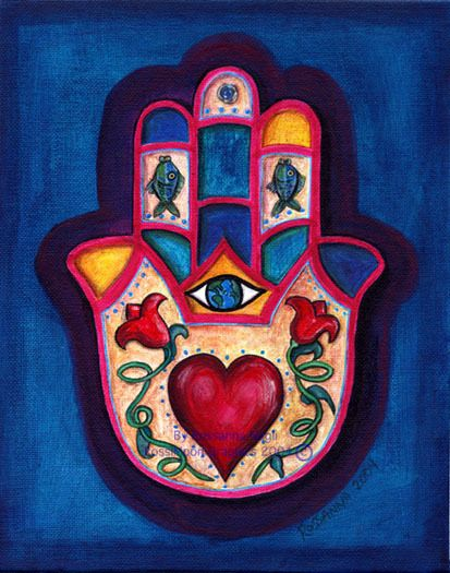 Hamsa, I have a similar one to this tattooed on my left front shin/upper ankle. Hamsa, wards off the evil eye, brings good health/fortune, etc. (Mine looks better than this though :) I love it though.