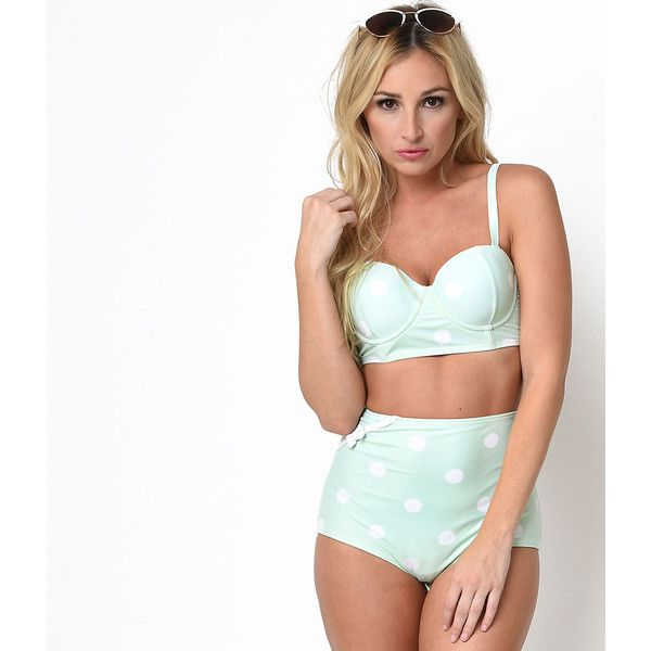 Unique Vintage Mint Dot Mrs. Rogers High Waist Swim Bottoms (160 ILS) ❤ liked on Polyvore featuring swimwear, bikinis, bikini bottoms, mint, high rise bikini bottom, polka dot bikini, vintage high waisted bikini bottoms, bow bottom bikini and vintage retro swimwear