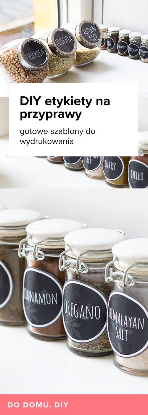 Pomysł na DIY Etykiety na przyprawy. Szablony gotowe do wydrukowania i przyklejenia na słoiki. Zmień wystrój swojej kuchni!