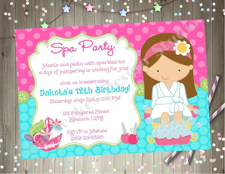 49 best spa party images on pinterest spa party birthday invitation invite spa birthday party invitation spa party invitation printable choose your girl stopboris Images
