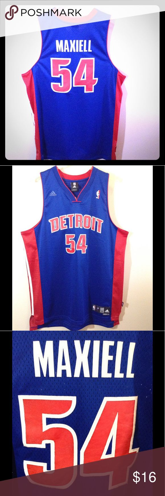NBA Authentic Pistons Jason Maxiell Jersey Jersey is a authentic NBA joined with adidas jersey. This jersey is a throwback from the Pistons, size XXL, blue, red and white in color. This is official NBA gear, No rips, no tears, no stains in good condition. adidas Shirts