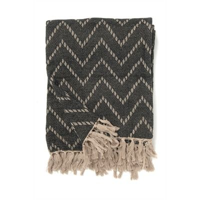 cotton chevron throw black/natural 50x60