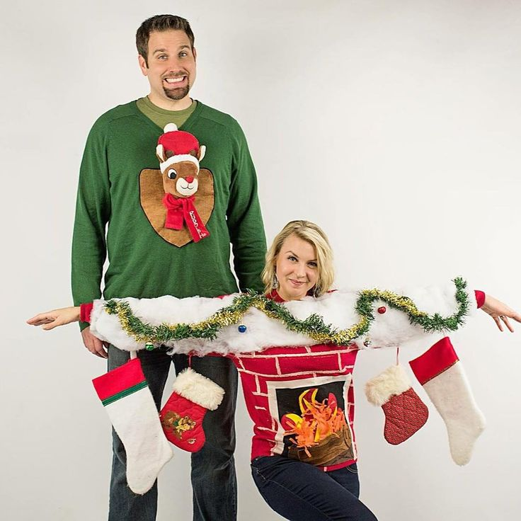 Seriously funny couple Ugly Christmas Sweaters