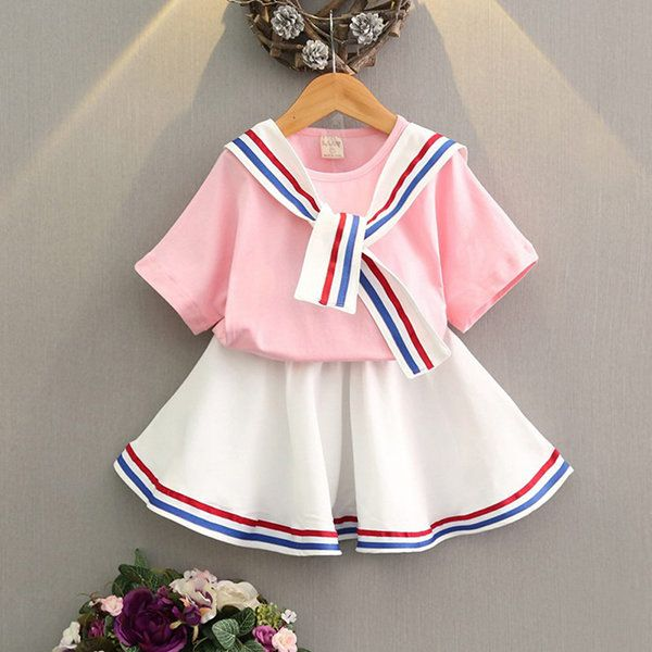 Stripe Short Sleeve O-neck T-shirt With Skirt Suit For Kids Girls