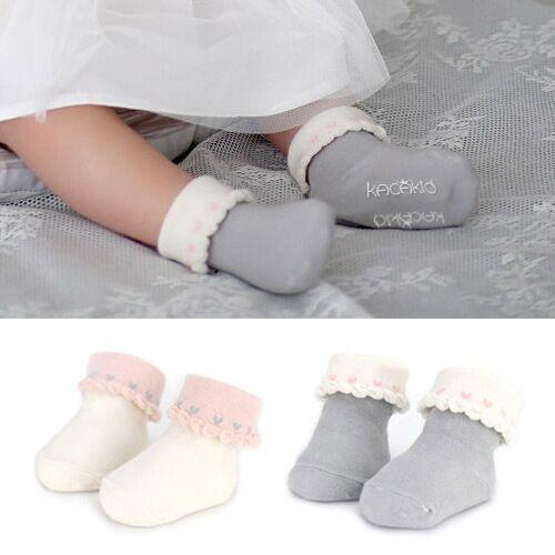 DHL EMS Free Shipping lovely Baby Cute Girls Ruffles Infants Socks Heart Print Soft Korea Style Infants Baby Wear 2 Colors