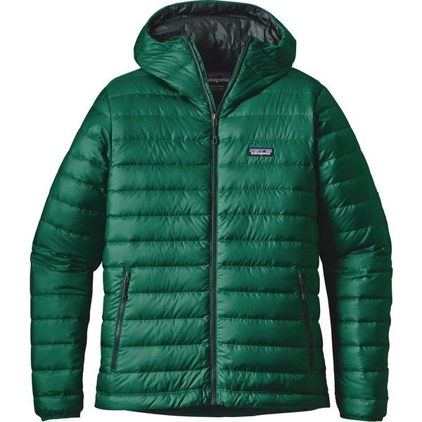 Patagonia Down Sweater Hooded Jacket ($237) ❤ liked on Polyvore featuring men's fashion, men's clothing, men's outerwear, men's jackets, mens jackets, mens zip up jackets, mens hooded jackets and mens ski jackets