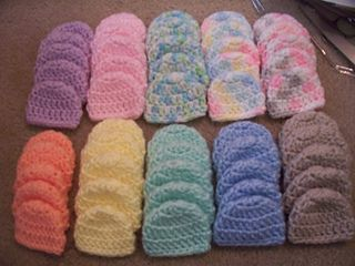 This is a crochet pattern for a micro premature baby's hat. Golf ball sized....