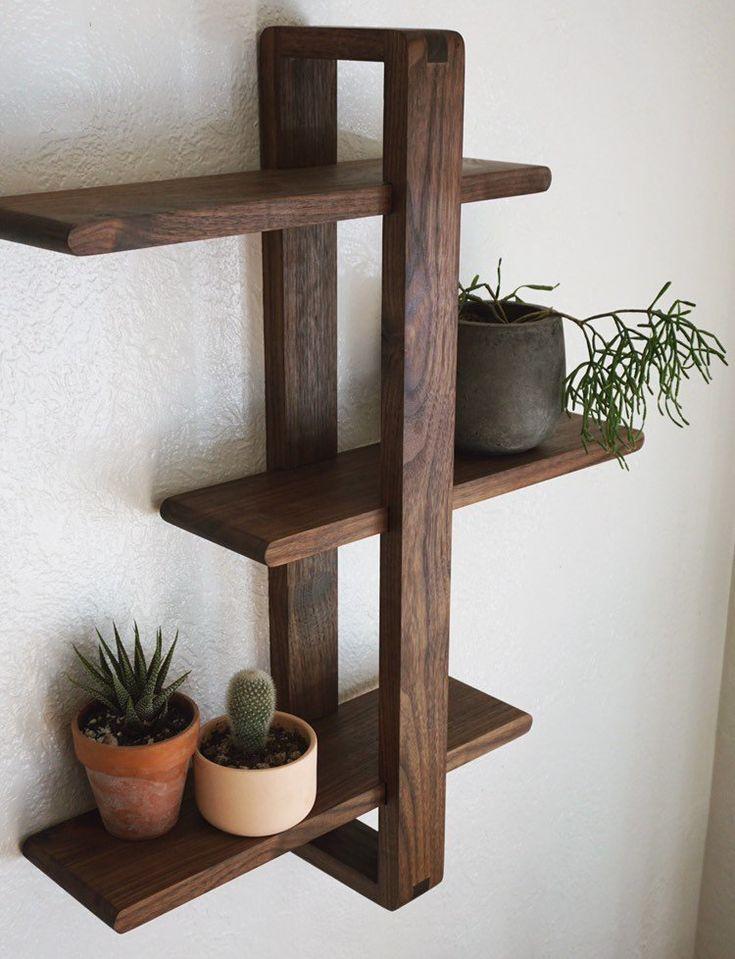 Modern Wall Shelf, Solid Walnut for Hanging Plants, Books, Photos. Handmade, Adjustable. Mid-century