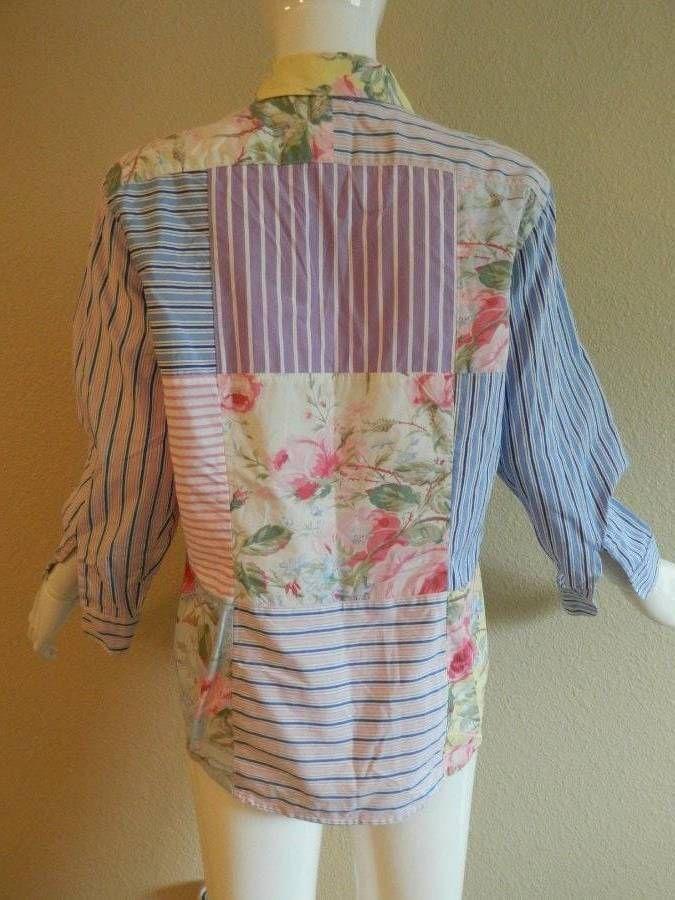 American Living patchwork floral stripe top Large   eBay