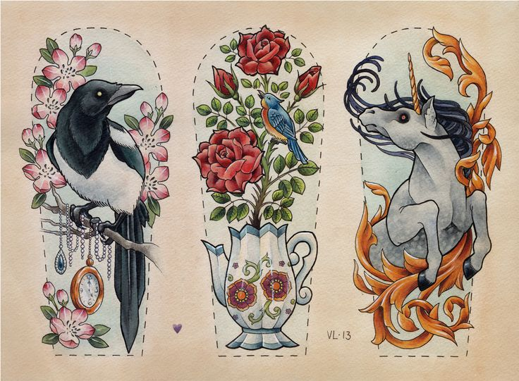 1. raven crow collects shiny sparkly things 2. teapot boils over into flowers and a bird 3. unicorn in gold abstract movement half sleeves thigh tatts or side pieces