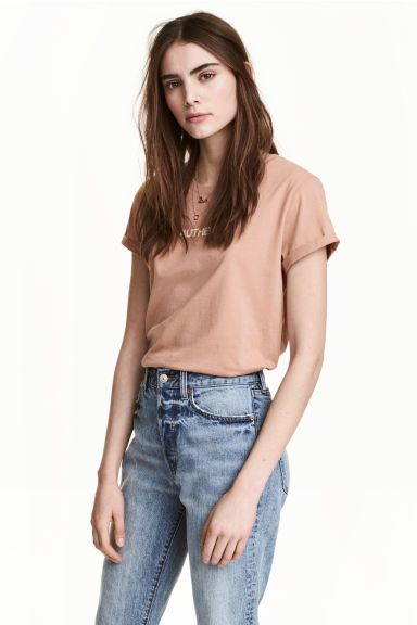 T-shirt z motywem - Beżowy - ONA | H&M PL 1