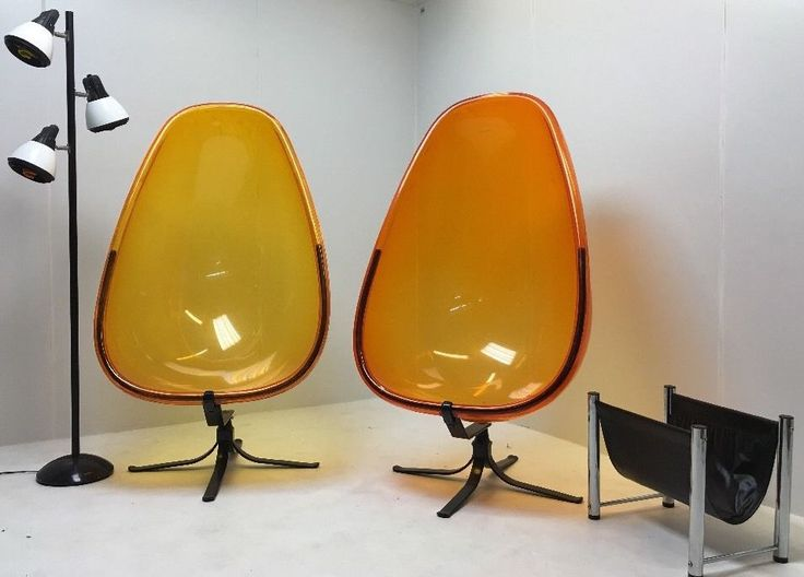 Pair Vintage Atomic Acrylic Lucite Orange Egg Chairs With Base I B Eero  Aarnio | EBay