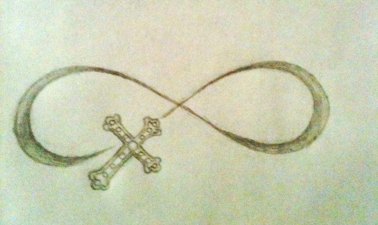 Cross infinity tattoo design by hannah hill tattoo for Cross infinity tattoo