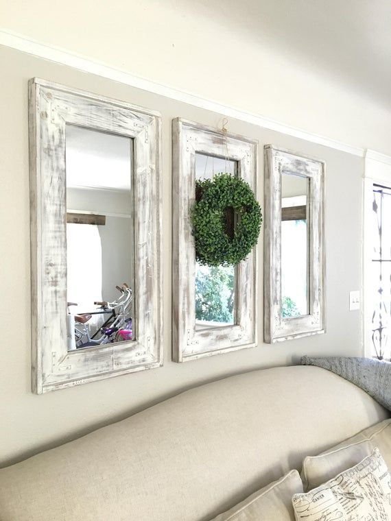 Wood Frame Farmhouse Set Of Three Mirrors Distressed Rustic Decorative Mirrors In 2021 Wall Decor Design Home Decor Farm House Living Room