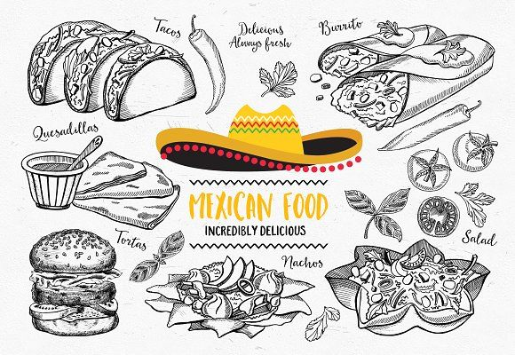 Mexican food illustrations by BarcelonaShop on @creativemarket #food #creative #download #menu #restaurant #design #graphic #drawing #cafe #vintage #print #illustration #logo #cute #vector #art #funny #poster #doodle #drawing #label #icon #burrito #mexican #waffles #burger #tacos