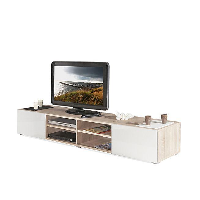 Maxo Meuble TV blanc laqué et coloris chêne 2 tiroirs