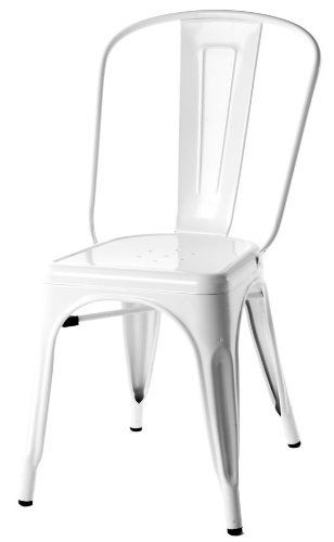 Stella Metal Cafe Side Chair in White Finish by Designform Furnishings. $118.00. perfect for restaurants, bar, cafes or home use. indoor / outdoor use. matching bar stool and arm chair available. other colors available by order. stackable. The Stella side chair, reminiscent of a French brasserie, of days gone past, of sitting around on a lazy Sunday morning in a cafe sipping an espresso and reading the paper. These durable, utilitarian chairs have been around sin...