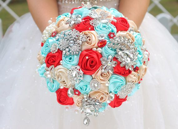 Tiffany Blue Red champagne weddings custom brooch bouquet http://www.aliexpress.com/store/product/DIY-champagne-red-cyan-rose-brooch-bouquet-Silk-Bride-Bridal-Wedding-Bouquet-Bridesmaid-Ribbon-Flower-custom/621238_32556974199.html