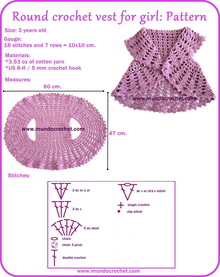 Round crochet vest for girl, FREE PATTERN! TUTORIAL