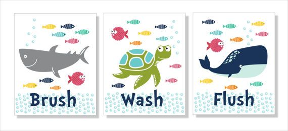 Shark, Whale and Fish Bathroom Wall Art, Typography, Bathroom decor- Set of three prints, $22.00