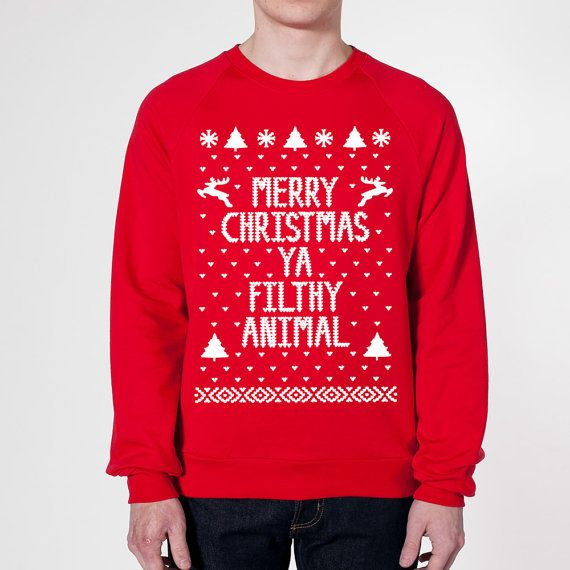 Merry CHRISTMAS Ya FILTHY Animal - funny hip retro movie xmas cool ugly sweater contest party humorous new - Mens Red Sweatshirt DB0002