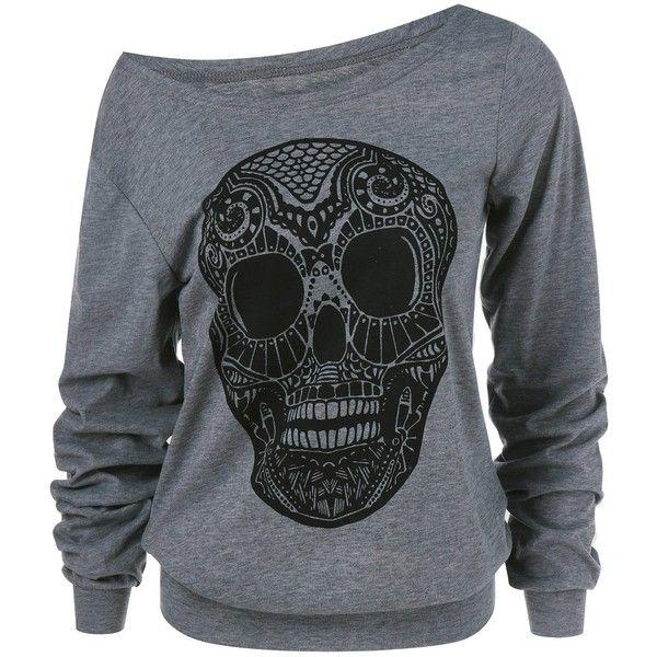 Skulls Print Skew Collar Sweatshirt ($13) ❤ liked on Polyvore featuring tops, hoodies and sweatshirts