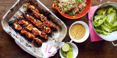 Asian-inspired chicken skewers and noodles with a refreshing mint and fruit salad.