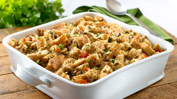 KNORR Holiday Vegetable Stuffing Ingredients 2 Tbsp. (30 mL) Becel® Buttery Taste margarine* 2 cups (500 mL) finely chopped mushrooms 2 1/2 cups (625 mL) water 1 package Knorr® Vegetable Dry Soup Mix 10 cups cubed fresh bread 2 Tbsp. chopped fresh parsley leaves 1 tsp. chopped fresh sage leaves 1 tsp. fresh thyme leaves