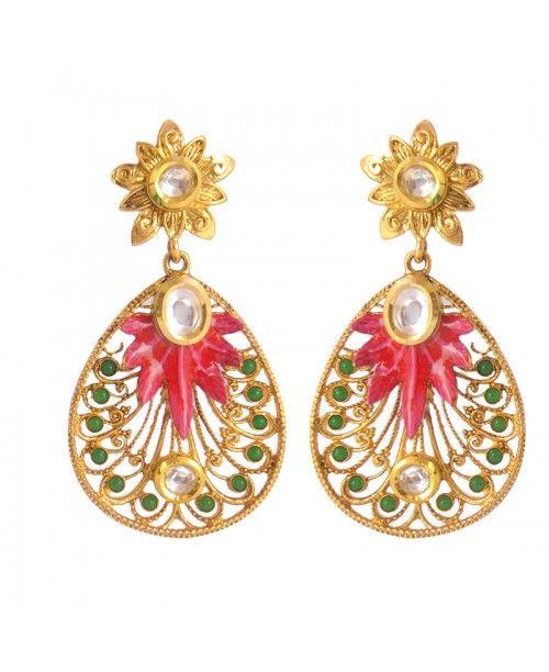 Women's Adorable Kundan Polki Copper Earrings_Pink Green9