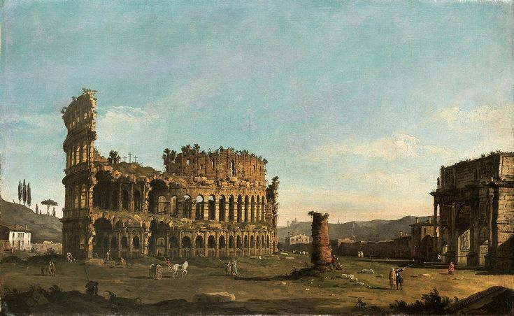 Bernardo Bellotto - Rome, the Colosseum and the Arch of Constantine, seen from the West - Oil on canvas, 61 x 98 cm.