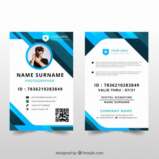 Id Card Design Template Lovely Id Card Template With Flat Design Vector Id Card Template Identity Card Design Employee Id Card