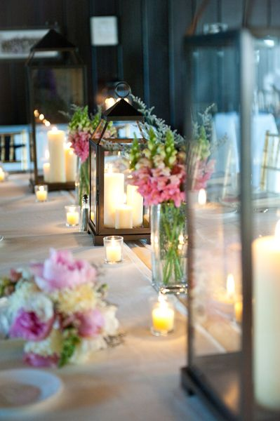 so pretty! love all the tealights and the lanterns / pink+green floral