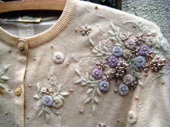 Vintage 1950's Cashmere Pringle Scotland Beaded Cardigan