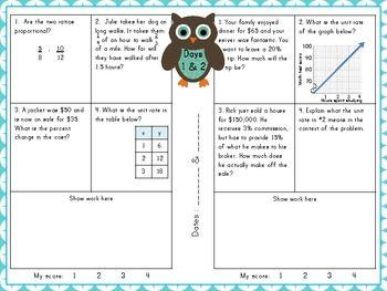 Ratios And Proportional Relationships Review Booklet Food Math