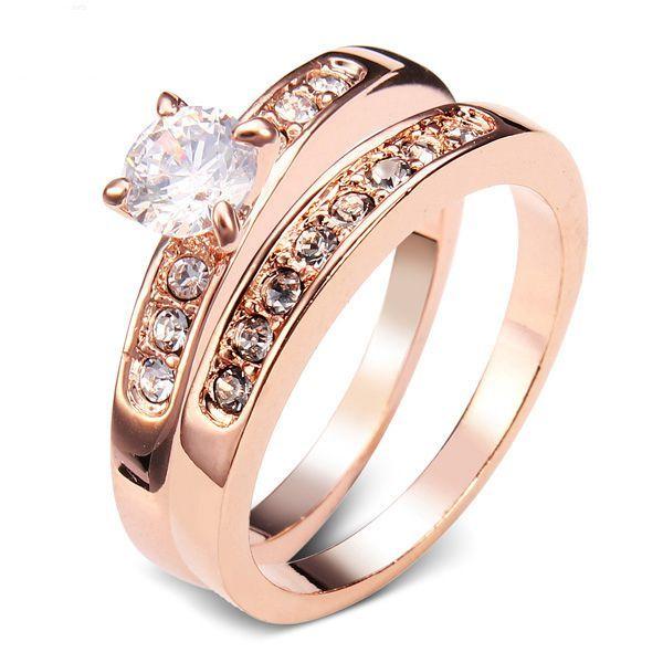 Sale 18% (5.52$) - Italina Separable Austrian Crystal Zircon Wedding Ring 18K Rose Gold