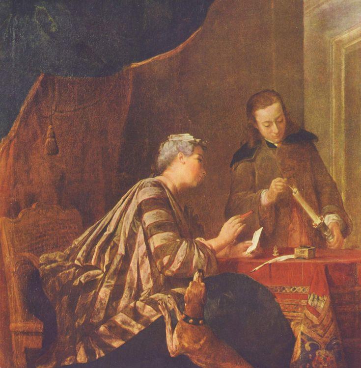 Une femme occupée à cacheter une lettre, 1733, Jean Siméon Chardin, (Berlin, Stiftung Kulturbesitz).