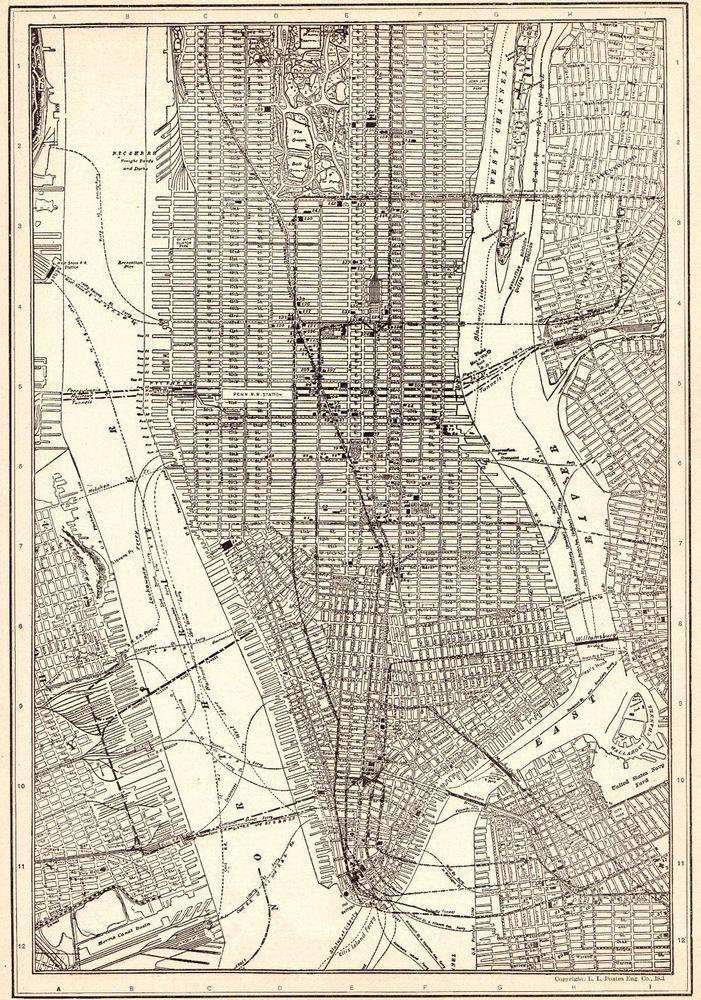 1926 Antique Manhattan Map Vintage New York City Map Black And