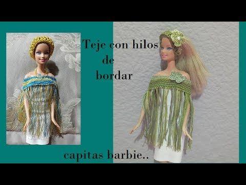 (63) Tejiendo con hilos para bordar (capitas para barbie) - YouTube