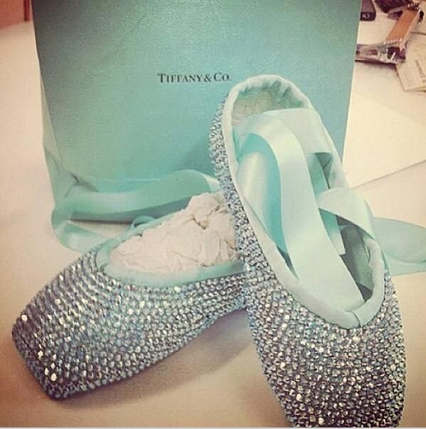 Tiffany pointe shoes. Perfect idea for Storie's first pair of point shoes. And let her do the b-dazzling when its time for them to retire.