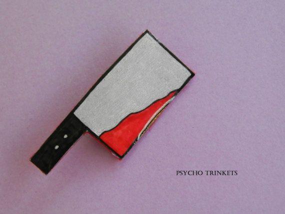 Bloody cleaver brooch by PsychoTrinkets on Etsy #crime #brooch #pinupjewellery #bloody #cleaver #psychobilly #gothabilly