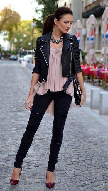 Black Leather Jacket Pink Flowy Top Black Skinny Jeans