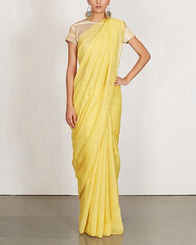 End your manic Monday on a high note with #Anavila's new line of linen saris in cheerful colours. Shop online now.