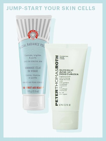 First Aid Beauty Facial Radiance Polish; Peter Thomas Roth Glycolic Acid 10% Moisturizer | allure.com