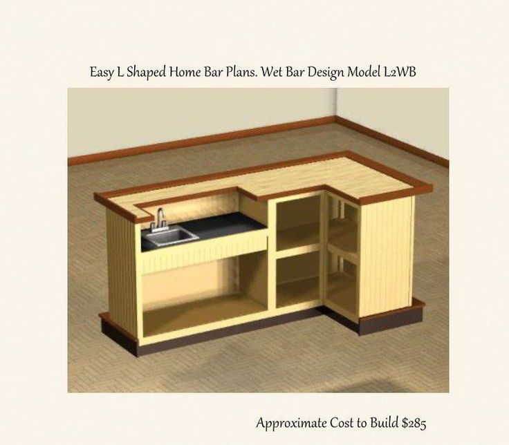 Easy To Build 4 X 8 Foot L Shaped Home Bar Plans Wet Bar