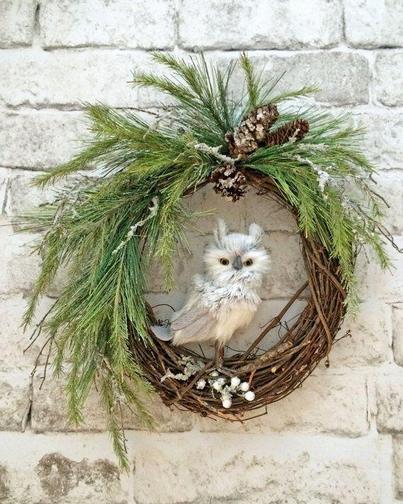 Owl Christmas Wreath Front Door Wreath by AdorabellaWreaths