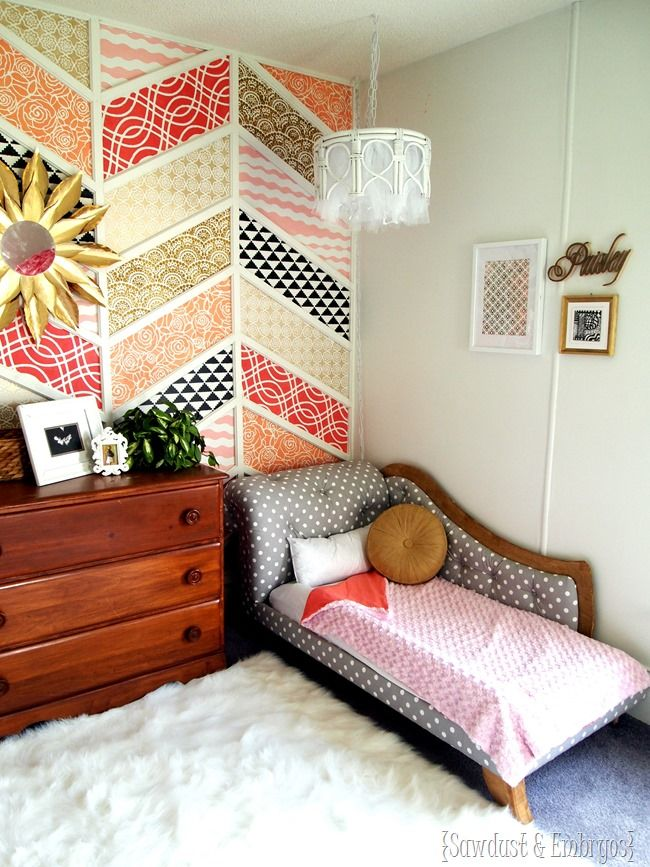 Little girls' DREAM room! Complete with stenciled patchwork Herringbone Accent Wall, DIY Fainting Couch toddler beds, and more! {Sawdust and Embryos}