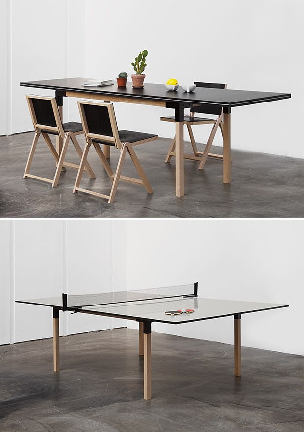 pull pong by day itu0027s a handsome 8person dining table but whenever the urge arises it quickly converts to a fullsize ping pong table designu2026