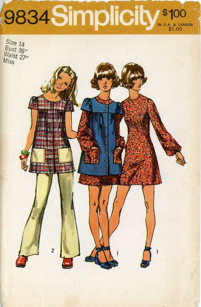 70s Sewing PATTERN Simplicity 9834 Junior Petites Smock top Mini Dress Pants 14 #Simplicity #bellbottompantsbackzipperindress