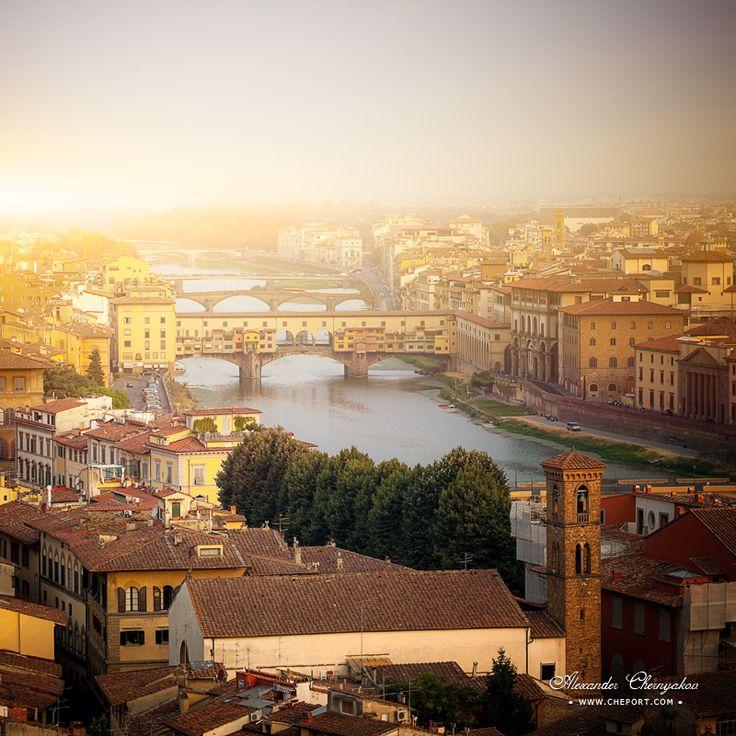 Ponte Vecchio and river Arno by Alexander Chernyakov